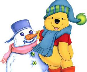 merry christmas, snowman, and winnie pooh image