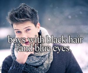 boy, blue eyes, and black hair image