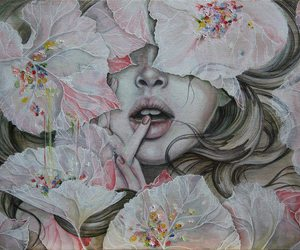 art, lips, and flowers image