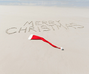 beach, ocean, and warm weather christmas image