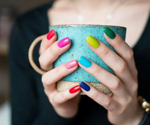 heart, nailart, and cup coffee image