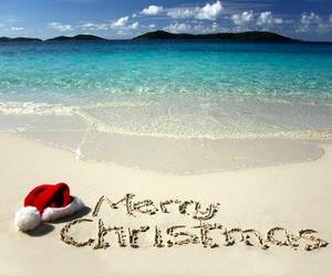 christmas, beach, and merry christmas image