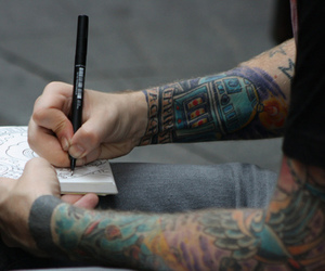 tattoo, drawing, and boy image