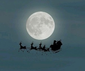 christmas, santa, and moon image