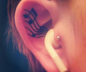 music, tattoo, and ear image