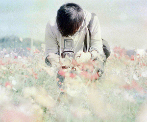 boy, camera, and flowers image