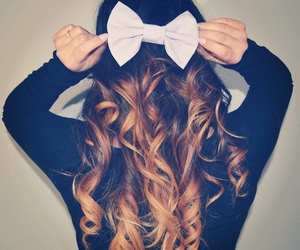 hair, bow, and curls image