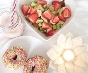 breakfast, candle, and donuts image