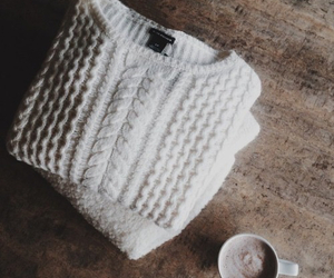 fashion, sweater, and coffee image