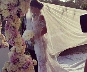 wedding, dress, and flowers image