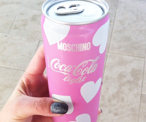 pink, coca cola, and Moschino image