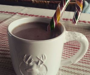 candy cane, christmas, and cocoa image