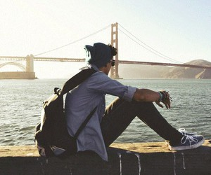 boy, bridge, and vans image
