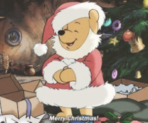 merry christmas, teddy bear, and winnie the pooh image
