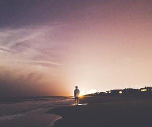 beach, boy, and sunset image