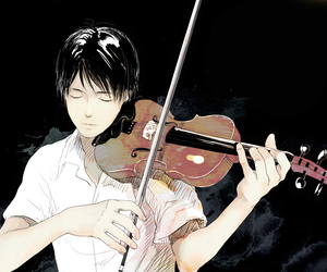boy, instrument, and draw image