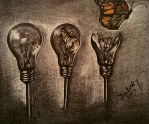 art, butterfly, and charcoal image