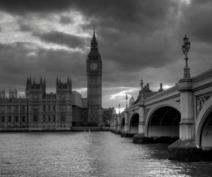 london, black and white, and england image