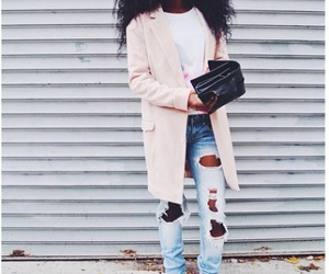 curls, ripped jeans, and style image
