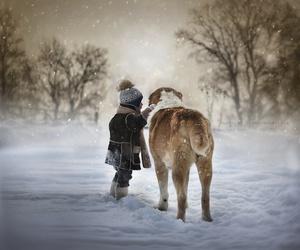 child, dog, and snow image