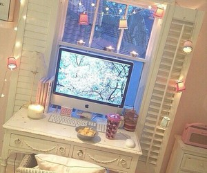computer, desk, and girly image