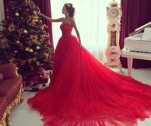 dress, red, and christmas image