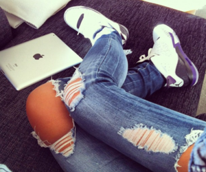 jeans, legs, and sneakers image