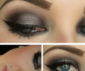 black, brown, and eyeliner image