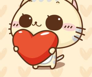 cat, heart, and kawaii image