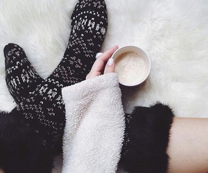 socks, tumblr, and hot chocolate image