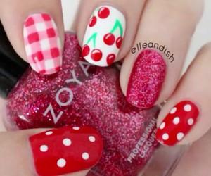 nails, cherry, and nail art image