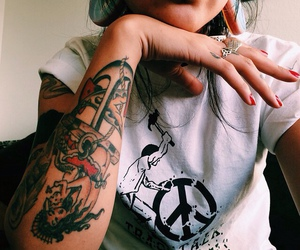 girl, ink, and peace image