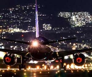city, night, and plane image
