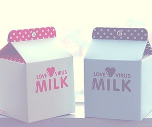 milk, cute, and pink image