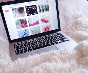 cozy, girly, and macbook image