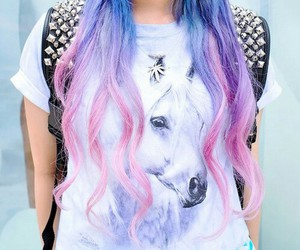 hair, pink, and unicorn image