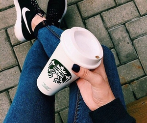 girl, hand, and starbucks image