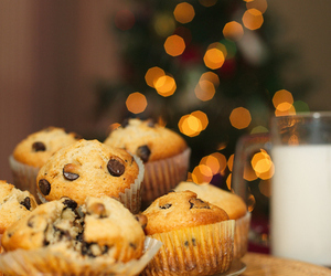 food, muffin, and milk image