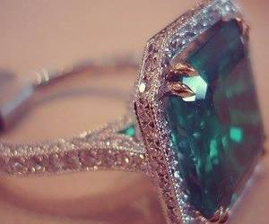 ring, emerald, and diamond image
