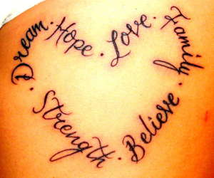 love, tattoo, and hope image