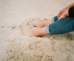 beach, feet, and sand image