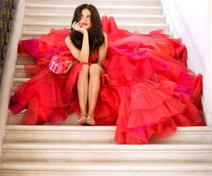red, dress, and Adriana Lima image