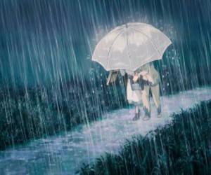 anime, couple, and rain image