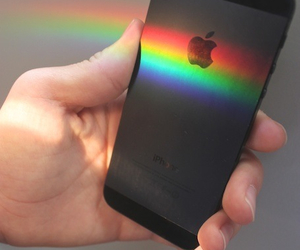rainbow, iphone, and apple image