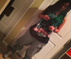 green hair, sweatpants, and snow tha product image