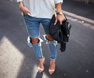 bag, heels, and casual image