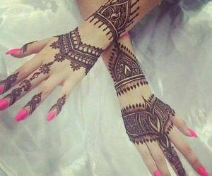 henna, pink, and nails image