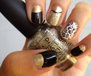 gold, leopard print, and nail art image