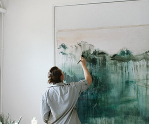 art, girl, and paint image