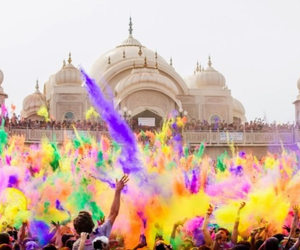baby, holi, and people image
